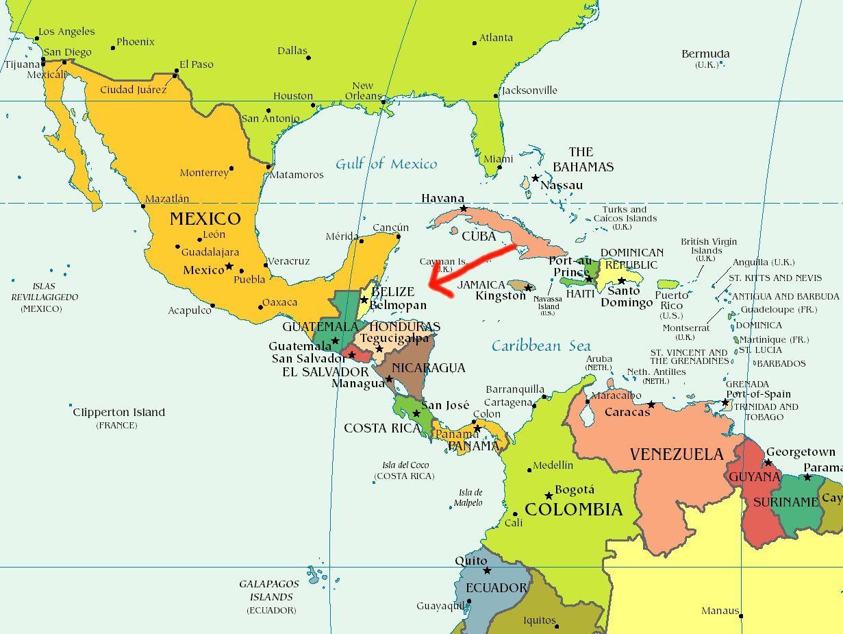 Carte situant le Belize dans la Caraïbes