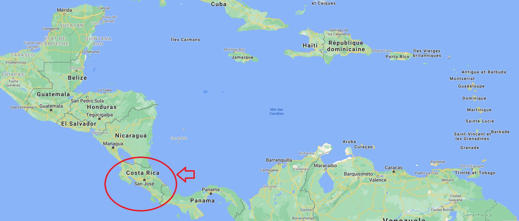 retraite au Costa Rica - situation géographique du pays