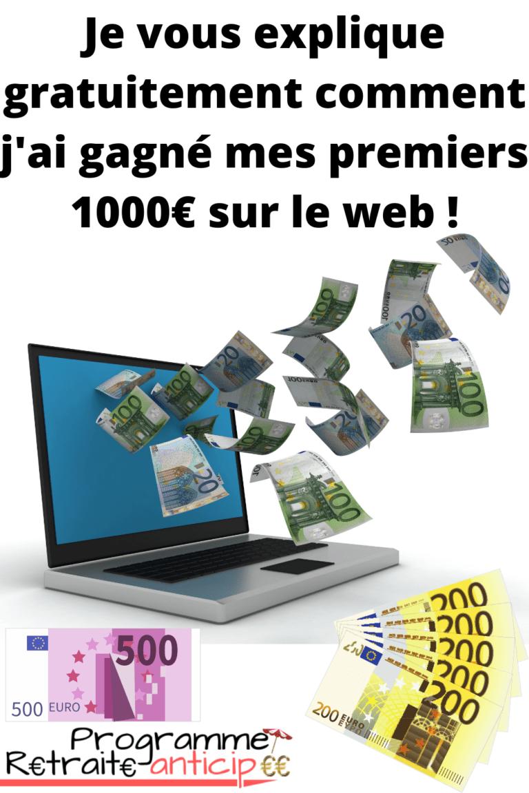 gagner 1000 euros sur Internet pour un meilleur excédent de trésorerie mensuel